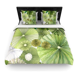 "Kess InHouse - Heidi Jennings ""Green Thumb"" Lime Woven Duvet Cover (King, 104"" x 88"") - Add a splash of artistically inclined comfort to the average down comforter with a large focus to your bed! Our duvet cover is made of a beautifully crafted woven polyester fabric on top and a comforting and soft cotton/poly blend on bottom! We highly recommend washing your artwork before laying it onto your bed for added comfort and softness! These are totally machine washable and won't fade!"