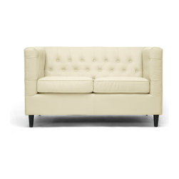 Wholesale Interiors - Darrow Cream Modern Leather Loveseat - Without question, this sophisticated, sizable loveseat will have a starring role in your space. Taking center stage is the Darrow Loveseat??s birch wood frame, cream bonded leather, and CA117 flame retardant foam cushioning. A deep seat area ensures maximum comfort. Plentiful button tufting, removable seat cushions, and black wood legs with non-marking feet are a satisfying finale. Chinese-made, this designer loveseat requires minimal assembly and should be wiped clean with a damp cloth and dried immediately. A matching sofa is also available (sold separately).