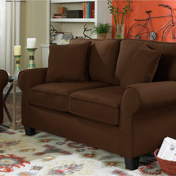 SOFAB - Sofab Love Seat - Upgrade your living room decor with this Sofab love seat that is available in a variety of colors. You'll enjoy the look and love the way the soft fiber fill feels. The legs feature a brown-cherry finish that adds the final touch to this love seat.