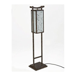 Woodard Japanese Outdoor Floor Lamp - This Asian inspired outdoor floor lamp has a delicate look but is made with durable materials for the outdoors. It's a great way to add lighting with flair.