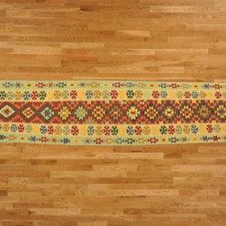 Kilim Qasqagi - Hand Woven 2'7''x12'10'' 100% Wool Multicolored Kilim Oriental Area Rug, Runner.