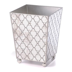 Jolie Wastebasket - Leave no object in your home uncoordinated to your graceful design.  The Jolie Wastebasket in Silver is a tapered square container resting on ball feet that pick up the motif of the dots that punctuate a Moroccan screen pattern on the basket's walls.  Each trapezoidal side is set with mirror, mimicking Versailles opulence in your transitional chateau and reflecting the hue of your walls.  Its metallic silver hues are incredibly chic and uniquely current.
