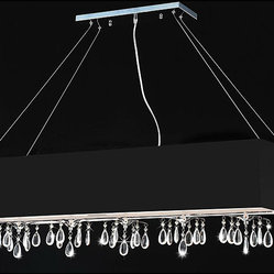 None - Rectangular Black Chrome 5-light Crystal Chandelier - This modern rectangular crystal chandelier is a trendy alternative to the familiar round fixtures found in many homes. Bold black chrome and dazzling pieces of crystal ensure that this beautiful chandelier is not ignored by visitors.