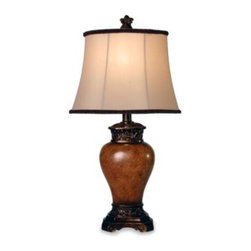 "Stylecraft Home Collection Inc. - Maximus Bronze Table Lamp - The Maximus Bronze lamp is a versatile addition to any room with its warm toned base and ivory shade featuring a coordinating warm bronze trim and soutache. Measures 24"" H."