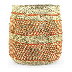 Pfeifer Studio - Handwoven Wastebin - Enjoy traditional Tanzanian crafts without traveling halfway around the world. The simple charm of this handwoven milulu wastebasket is now available to you from the comfort of your own home.