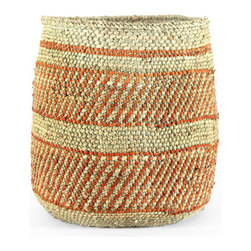 Pfeifer Studio - Handwoven Waste Bin - Enjoy traditional Tanzanian crafts without traveling halfway around the world. The simple charm of this handwoven milulu wastebasket is now available to you from the comfort of your own home.