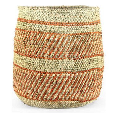 Pfeifer Studio - Handwoven Waste Bin - We love the natural simplicity of this elegant waste basket, woven by hand in the Tanzanian city of Iringa, a thriving center of over 100,000 and home of the Hehe people. Visitors to the nearby Ruaha National Park often stop by the city's market, where one can find these traditional Iringa baskets for sale. Woven from milulu, a reed-like swamp grass, Iringa baskets are an indispensable utility item in East Africa.