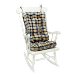 None - Blue Plaid Standard Rocking Chair Cushion Set - Add some classic comfort to your home decor with this blue plaid chair cushion set. Featuring a fully reversible design and able to be spot cleaned, these 100-percent cotton rocking chair cushions are fully tufted and filled with polyester fiberfill.