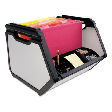 Advantus - Advantus Stackable Bin, 15 x 14 x 11 1/2, Plastic, Black - Versatile, stackable design with organizer compartments that store a variety of items and office supplies. Also holds hanging, letter-size file folders.