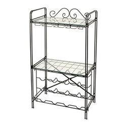 Concept Housewares - Wine & Glass Floor Rack, Matte Black - Dimensions: 18''W x 11''D x 36''H