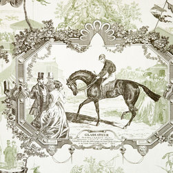 Horse toile fabric Gladiateur equestrian green, Standard Cut - A race horse fabric. An equestrian toile fabric in green and brown. A wonderful pattern with vintage race horse scenes, this highlights the horse Gladiateur.