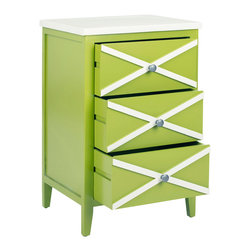 Safavieh - Safavieh Sherrilyn 18x15 3 Drawer Side Table in Lime Green and White - The easy-going nature of the Sherrilyn 3-drawer side table gets done up in fresh pastels, shown here in lime green finished poplar with charming contrasting white top and x-details on front. A relaxed piece that's functional and sweet for any room needing extra storage. What's included: Side Table (1).