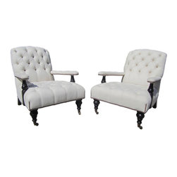 George Smith Armchairs, Aileen Getty Collection - $18,000 Est. Retail - $9,500 o -