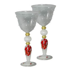Berries 'n Branches Wine with Raised Dots Glasses Set of 2 - This is a mouth blown wine glass that has raised glass dots features cheerful Berries' Branches.  Perfect for the holidays or any season.  Something to be handed down from generation to generation. Proudly hand painted in the USA.