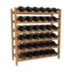 36 Bottle Stackable Wine Rack in Pine with Oak Stain - A pair of discounted wine racks allow double wine storage at a low price. This rack accommodates all 750ml bottles, Pinots and Champagnes. The quintessential DIY wine rack kit. Your satisfaction is guaranteed.