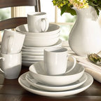 Great White Coupe Dinnerware - Classic white dinnerware is a decorating staple, and when dressed up with autumn-colored linens, makes a quick and easy fall place setting. You can't beat crisp, white dishes year-round!