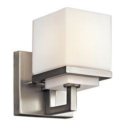 KICHLER - KICHLER Metro Park Modern / Contemporary Wall Sconce X-IN73154 - A modern, urban look, this Kichler Lighting wall sconce from the Metro Park Collection features stark square lines paired with modern finishes. The Brushed Nickel finish is paired with an etched opal glass shade. Rated for use in damp locations.