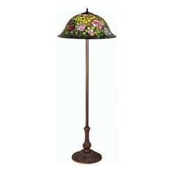 "Meyda - 63""H Tiffany Rosebush Floor Lamp - The most beloved of all flowers, the rose, isbeautifully represented in this meyda reproduction of atiffany studio classic. Petal pink, romantic red andplum passion art glass roses ramble on a maze of gardengreen leaves. The delicate domed stained glass shade ispaired with a graceful, hand finished mahogany bronzefloor lamp. Bulb type: med bulb quantity: 3 bulb wattage: 60"