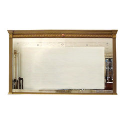 MBW Furniture - Neo Classical Gilted Etched Mantle Mirror - This is a gorgeous Neo Classical 6ft rectangular mirror. The mirror features a beveled edge and it is beautifully adorned with Greek key etchings and star designs, and it has a gorgeous carved framed that has a traditional beveled top, Greek key golden carved patterns with beads, fluted sides and lovely floral accents. Can be used for a buffet or for a hanging on a wall. Hanging hardware not included.