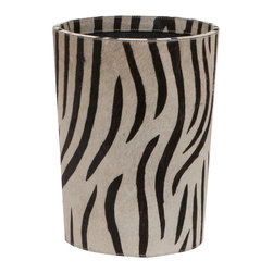 "Pigeon & Poodle - Pigeon & Poodle Nairobi Round Wastebasket - Pigeon & Poodle creates a collection of inspired home accessories for the modern interior. Expressing sassy style, the round Nairobi waste basket enriches a bathroom, bedroom or office with alluring sophistication Made from elegant black and white zebra-inspired print hair on hide, this cylindrical container features a navy canvas interior. 10.5""Diameter x 14""H."