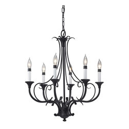 Murray Feiss - Murray Feiss Peyton Transitional Chandelier X-KB6/3352F - For a traditional look, this classic chandelier is a perfect accent. The Murray Feiss Peyton Transitional chandelier features a remarkable steel frame with decorative curls covered in a rich black finish. The white opal etched glass shades provide a lovely glow to the living space.