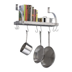 Enclume Bookshelf Pot Rack - This double-tasking shelf shows off your favorite cookbooks and makes it easy to grab the pan you need. I like the stainless steel that will go in any kitchen.