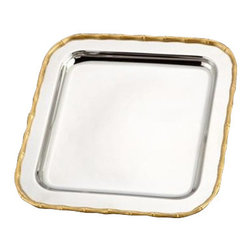"L'Objet - L'Objet Evoca Nickelplate Square Platter, 24kt Gold Bamboo Edge - A mesmerizing combination of hand-crafted metals, the Evoca collection melds organic elements into a dazzling contemporary ensemble. Every piece in the collection is created from a hand shaped brass base, which is then nickel-plated and polished to a shimmering finish. The unique bamboo accents are hand gilded with 24kt gold and soldered to the body with sterling silver, utilizing the same technique and standards found in the creation of fine jewelry. 24k Gold Plated Accents 18/10 Stainless Steel surface never needs polishing Measures 10"" x 10"" Luxuriously Gift BoxedIncludes a Suede Dust Bag. Please Hand WashL'Objet is best known for using ancient design techniques to create timeless, yet decidedly modern serveware, dishes, home decor and gifts."