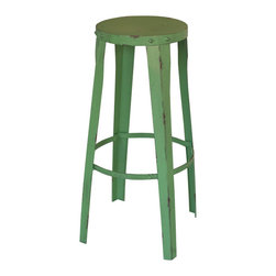 Green Metal Bar Stool - We've found the best place to perch: this round metal bar stool in the perfect shade of summertime green. Distressed along the edges for a timeworn look, we love the versatility of this piece. At a bar counter, or simply in a corner, you can't go wrong. It's even great for propping plants or stacking books.