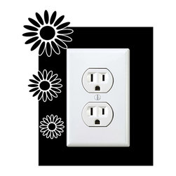 StickONmania - Outlet Flowers #28 Sticker - a vinyl decal sticker to decorate a wall outlet.  Decorate your home with original vinyl decals made to order in our shop located in the USA. We only use the best equipment and materials to guarantee the everlasting quality of each vinyl sticker. Our original wall art design stickers are easy to apply on most flat surfaces, including slightly textured walls, windows, mirrors, or any smooth surface. Some wall decals may come in multiple pieces due to the size of the design, different sizes of most of our vinyl stickers are available, please message us for a quote. Interior wall decor stickers come with a MATTE finish that is easier to remove from painted surfaces but Exterior stickers for cars,  bathrooms and refrigerators come with a stickier GLOSSY finish that can also be used for exterior purposes. We DO NOT recommend using glossy finish stickers on walls. All of our Vinyl wall decals are removable but not re-positionable, simply peel and stick, no glue or chemicals needed. Our decals always come with instructions and if you order from Houzz we will always add a small thank you gift.