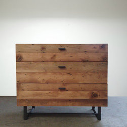 Beautifully Modern Reclaimed Old-Growth Dresser by Blake Avenue - I love that this dresser (a) is handmade, (b) has a rustic warm wood finish and (c) has sleek hardware that makes it feel a bit more modern.