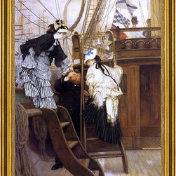 """James Tissot-18""""x24"""" Framed Canvas - 18"""" x 24"""" James Tissot Boarding the Yacht framed premium canvas print reproduced to meet museum quality standards. Our museum quality canvas prints are produced using high-precision print technology for a more accurate reproduction printed on high quality canvas with fade-resistant, archival inks. Our progressive business model allows us to offer works of art to you at the best wholesale pricing, significantly less than art gallery prices, affordable to all. This artwork is hand stretched onto wooden stretcher bars, then mounted into our 3"""" wide gold finish frame with black panel by one of our expert framers. Our framed canvas print comes with hardware, ready to hang on your wall.  We present a comprehensive collection of exceptional canvas art reproductions by James Tissot."""