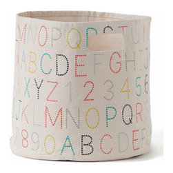 Pehr Alpabet Canvas Storage Bin - This whimsical storage bin in alphabet print is unique and durable. Made from 100% Heavy weight cotton canvas and machine washable. Just one of many prints to choose from, the Petite Pehr Alphabet bin will fit perfectly into ikea shelving units for a different and fun look.