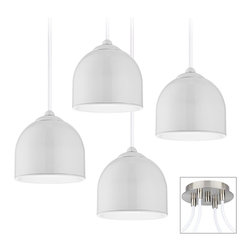 """Possini Euro Design - Contemporary Dome 4-Light Brushed Nickel Multi Light Pendant - Our multi light pendant swag chandeliers let you add designer lighting to any room. The special swag canopy installs into any ceiling junction box just like a normal ceiling light or chandelier. Install standoffs in the ceiling and swag the cord lines to the canopy; adjust the hanging length as desired. With the hanging options you can get the exact look and light placement you need. This version has a brushed nickel finish triple swag canopy. It features four white glass pendants for a clean and modern look. Includes four 20 watt G4 halogen bulbs.Each pendant is 4 1/2"""" high and wide. 12-foot cord on each. Canopy is 9"""" wide.  Multi swag chandelier.  With special canopy adaptor.  Installs into any ceiling junction box.  Includes ceiling anchors.  With two standoff ceiling mounts.  Brushed nickel finish canopy.  White glass dome pendants.  10-foot cord on each.  A stylish large chandelier.  Includes four 20 watt G4 halogen bulbs.  Each pendant is 4 1/2"""" high and wide.  Canopy is 6"""" wide."""