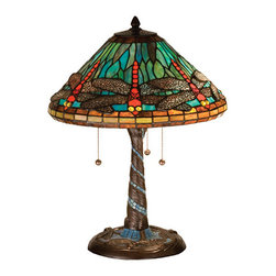 "Meyda Tiffany - 21""H Tiffany Dragonfly W/ Twisted Fly Mosaic Base Table Lamp - One of Tiffany Studio's most beloved dragonfly design, modeled after the hanging head dragonfly. Diving dragonflies with glowing Scarlet jeweled eyes and delicate metal filigree wings circle over hand cut and copper foiled pieces of Sky Blue art glass. Sparkling Evening Sky bands circle the top and bottom of the stained glass shade. A Sky Blue glass mosaic inlay spirals down the hand finished Mahogany Bronze base that is accented with a circle of cast metal dragonflies."