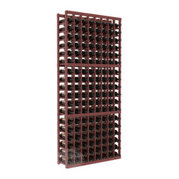 8 Column Standard Cellar Kit in Redwood with Cherry Stain + Satin Finish - Wooden wine storage available in pine or redwood plus many stain and finish options. The best rack for an intermediate collector. This rack stores up to 12 cases of wine in 18 bottle columns. You'll love it. We guarantee it.