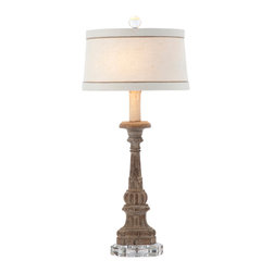 Kathy Kuo Home - Pair Chamont Vintage Chic Weathered Wood Table Lamp - Created and finished by hand, this wooden lamp is placed on a crystal base to add to its overall character.  Crystal finials should never be twisted by the crystal, but by the finger grabs below the crystal. Twisting on the crystal finial will cause it to break.  Price marked is for a pair.