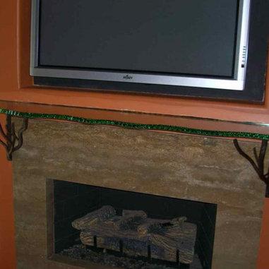 Glass Fireplace Mantel Shelf With Chipped Polished Edge
