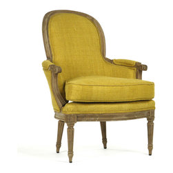 Kathy Kuo Home - Emeze French Country Saffron Yellow Carved Wood Bergere Club Chair - Just elegant enough to bring to mind the traditional French interior, the Emeze Club Chair offers the comfort we all look for in today's casual setting.  Made of solid oak, this chair embraces a natural finish and grabs attention with its hand dyed saffron-colored Belgian linen upholstery.  It is perfect for the French-inspired living room, lounge or other interior.