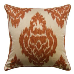 Ikat Print Spice Pillow - Ikat is such a huge trend and it's interpreted so beautifully in this elegant throw pillow. The neutral background, and warm, spicey print make this decorative pillow stylish yet classic. Add to a cozy den or spacious living room to add a chic touch.