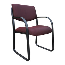 Boss Office Products - Boss Office Products Fabric Sled Base Guest Chair in Burgundy - Boss Office Products - Guest Chairs - B9521BY - Bring professionalism to your office with the sleek Boss Fabric Guest Chair. The variety of fabric colors on this seat ensure you can find one that blends well with your decor. Impress your guests and clientelle with the Guest Chair.