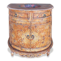 Koenig Collection - Old World Tuscan Travertine Half Moon Vanity, Venetian - Travertine Half Moon Vanity, Venetian with Distressed Copper Top
