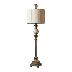Uttermost - Tusciano Dark Bronze Floor Lamp - Hand rubbed dark bronze finish accented with a lightly stained capiz shell ball. The round modified drum shade is a khaki linen fabric with natural slubbing.
