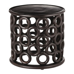 Arteriors - Kamal Side Table - Circles of hand crafted wood create the base of this round wooden side table in a dark walnut finish.