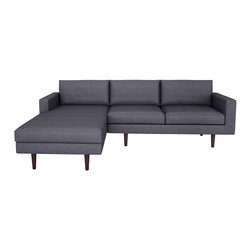 "bobby Berk Home - Brady Sofa W/Chaise, Wales Navy, 120"" - With its mid century feel the Brady Collection is sophisticated yet restrained and would sit equally comfort- ably in rooms ranging from a living room to a dressing room to a foyer."