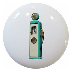Carolina Hardware and Decor, LLC - Teal Vintage Gas Pump Ceramic Knob - 1 1/2 inch white ceramic knob with one inch mounting hardware included.  Great as a cabinet, drawer, or furniture knob.  Adds a nice finishing touch to any room!