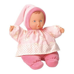 Corolle Barbicorolle Babipouce Pink Cotton Flower 11 in. Doll - Dressed in her cutest nighttime outfit, the Corolle Barbicorolle Babipouce Pink Cotton Flower 11 in. Doll is sweet-smelling and ready for bed. This doll is incredibly soft and designed to be baby's first dolly. It's lightweight with a plush body with sewn-on cotton flower and pink outfit with cap. She has soft vinyl hands that are naturally curled and a sweet expression. This doll is machine-washable, has a soft vanilla scent, and is perfectly cuddly for your newborn.About CorolleCorolle is a premier doll brand designed in the storybook region of France's Loire Valley. Since 1979, Corolle has been creating highly detailed dolls designed to be cherished by children everywhere. Every Corolle doll will inspire magical childhood memories that will last for a lifetime. Corolle dolls look and feel as real as possible. They're created of soft, supple vinyl, have natural-looking hair, and wear on-trend fashions. Corolle dolls are designed durable enough to withstand years of hugs and love. Perfect heirloom treasures! Doll play encourages children to explore different roles from caring for and sharing hopes and dreams to finding an understanding playmate and friend for life. Corolle designs dolls for children of all ages.There is a range of Corolle dolls designed for specific ages. Babi Corolle is a soft-body doll perfect for newborn babies and older. It's machine-washable, feather-light, and made to be loved. Mon Premier Corolle is designed for babies 18 months and older. This line includes a range of baby dolls, clothing, and accessories. The dolls are lightweight and soft. The clothing has Velcro closures so it's easy to put on and take off. Mon Classique Corolle is a classic baby doll designed for toddlers to love and nurture. This line has a complete assortment of larger baby dolls, clothing, and nursery accessories. Some even have hair that can be brushed and styled. Others coo, giggle, drink, and go potty. Mademoiselle Corolle is a toddler doll for toddlers. These dolls have expressive faces, silky long hair, and are dressed in the latest styles. This doll will be your little one's best friend. She's perfect for sharing secrets and working out new hairstyles and fashion. Les Cheries Corolle is designed for little ones four years and older. She has long, lush, rooted hair and an amazing wardrobe of stylish outfits. This doll provides endless hours of fashion and hair play.