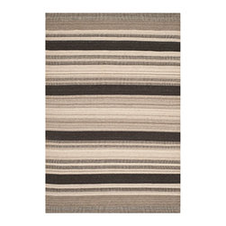 Safavieh - Dhurries Natural and Black Rectangular: 5 Ft. x 8 Ft. Rug - - This distinctive piece is both stylish and incredibly soft to the touch with bold rich colors that complement any room. Flat-woven by hand in India  - Pile Height: 0.25  - Construction: Flatweave  - Shedding is a normal occurrence and will reduce over time with frequent vacuuming. It is also recommended that you vacuum regularly to prevent dust and crumbs from settling into the roots of the fibers. AVOID DIRECT AND CONTINUOUS EXPOSURE TO SUNLIGHT. USE RUG PROTECTORS UNDER THE LEGS OF HEAVY FURNITURE TO AVOID FLATTENING PILES. DO NOT PULL LOOSE ENDS CLIP THEM WITH SCISSORS TO REMOVE. TURN CARPET OCCASIONALLY TO EQUALIZE WEAR. REMOVE SPILLS IMMEDIATELY ; IF LIQUID BLOT WITH CLEAN UNDYED CLOTH BY PRESSING FIRMLY AROUND THE SPILL TO ABSORB AS MUCH AS POSSIBLE. FOR HARD TO REMOVE STAINS PROFESSIONAL RUG CLEANING IS RECOMMENDED. STORE IN A DRY WELL-VENTILATED AREA. USE OF A RUG PAD IS RECOMMENDED. Safavieh - DHU628A-5