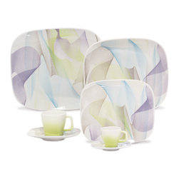 Oxford Porcelains - Karim Rashid-Shift Line-Fusion 20 pc Set - Soft colors swirl about this lovely tabletop set. Salads are even more refreshing on these plates; entrees even more comforting; tea even more soothing out of these cups. One thing you can keep stimulating at your table: the conversation.