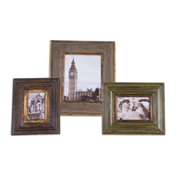 Uttermost - Taneal Photo Frames Set of 3 - Heavily distressed and antiqued silver, copper and sage green. Sizes: sm-10x11x1, med-11x13x1, lg-14x16x1. Holds 4x6, 5x7 and 8x10 photos.