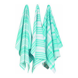 Aqua Striped Kitchen Towels - Set of 3 - With summer feasts comes an influx of dishes to dry and spills to clean up. Dry and clean in style with these jumbo kitchen towels. Hand-woven in India, the set includes three different towels, all boasting a different striped design.
